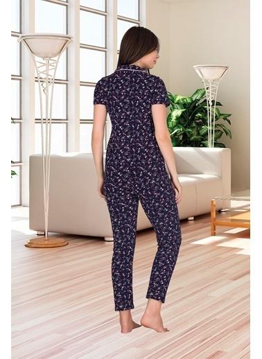Sensu Kadın Kısa Kollu Cepli Pijama Takımı Pj3011 Renkli